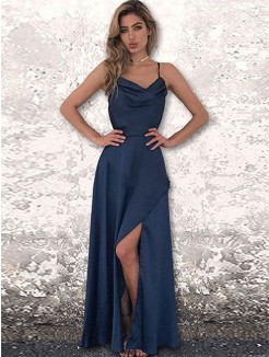 A-Line/Princess Silk like Satin Long Ruched Sleeveless Dresses