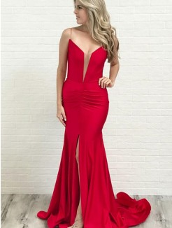 A-Line/Princess Ruched Stretch Crepe Sleeveless Court Train Dresses