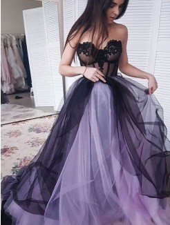 A-Line/Princess Tulle Applique Strapless Sleeveless Court Train Dresses