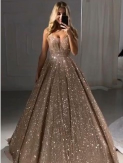 A-Line/Princess V-neck Sequins Ruffles Long Sleeveless Dresses