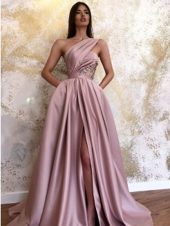 A-Line/Princess Satin Sleeveless Ruched One-Shoulder Sweep/Brush Train Dresses