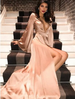 A-Line/Princess V-neck Silk like Satin Long Sleeves Sweep/Brush Train Ruched Dresses