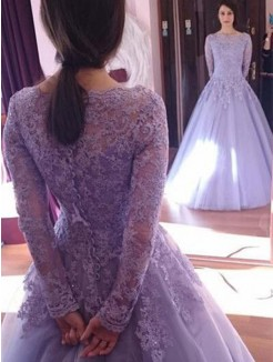 Floor-Length Ball Gown Jewel Long Sleeves Tulle Dresses