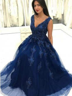 Floor-Length A-Line/Princess V-neck Sleeveless Tulle Dresses