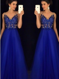 A-Line/Princess V-neck Floor-Length Sleeveless Applique Tulle Dresses
