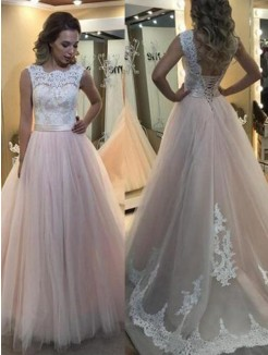 A-Line/Princess Sleeveless Sweep/Brush Train Lace Tulle Dresses