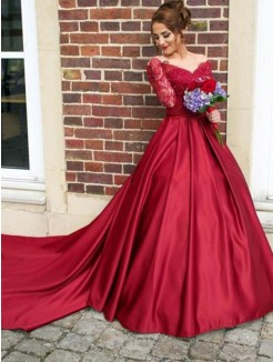 A-Line/Princess V-neck Sweep/Brush Train Long Sleeves Lace Satin Dresses