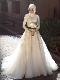 Ball Gown Jewel Sweep/Brush Train Long Sleeves Applique Tulle Wedding Dresses