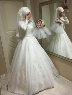 Floor-Length Ball Gown Jewel Long Sleeves Organza Wedding Dresses