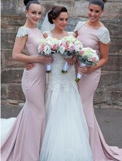 Sweep/Brush Train Trumpet/Mermaid Sleeveless Satin Bridesmaid Dresses
