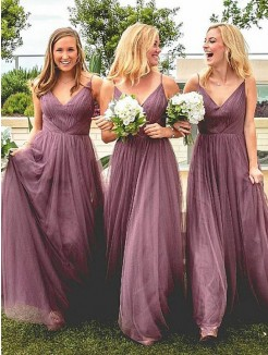 Floor-Length A-Line/Princess Spaghetti Straps Sleeveless Tulle Bridesmaid Dresses