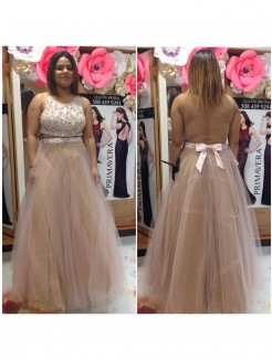 A-Line/Princess Scoop Sleeveless Beading Floor-Length Tulle Plus Size Dresses
