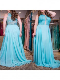 A-Line/Princess Scoop Sleeveless Applique Sweep/Brush Train Chiffon Plus Size Dresses