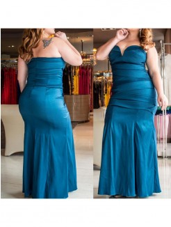 Trumpet/Mermaid Sweetheart Sleeveless Ruched Floor-Length Elastic Woven Satin Plus Size Dresses