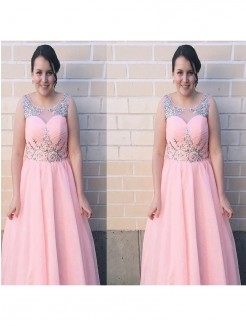A-Line/Princess Sheer Neck Sleeveless Beading Floor-Length Chiffon Plus Size Dresses