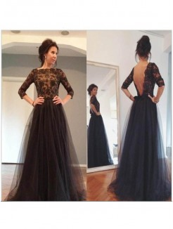 A-Line/Princess Bateau 3/4 Sleeves Lace Sweep/Brush Train Tulle Mother Of The Bride Dresses
