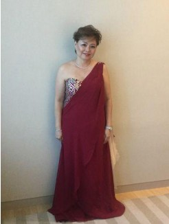 A-Line/Princess One-Shoulder Sleeveless Beading Sweep/Brush Train Chiffon Mother Of The Bride Dresses