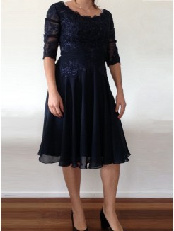 A-Line/Princess Scoop 1/2 Sleeves Applique Knee-Length Chiffon Mother Of The Bride Dresses
