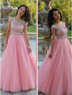 A-Line/Princess Short Sleeves Scoop Beading Tulle Floor-Length Dresses