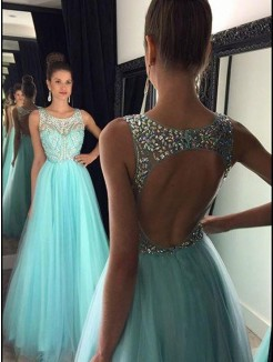 A-Line/Princess Sleeveless Beading Tulle Floor-Length Floor-Length Dresses
