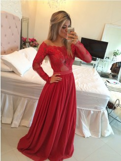 A-Line/Princess Off-the-Shoulder Chiffon Sweep/Brush Train Applique Dresses
