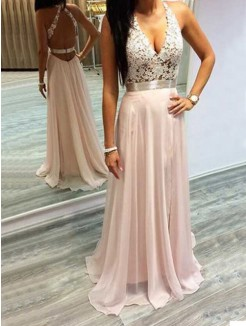 A-Line/Princess Halter Sleeveless Chiffon Lace Sweep/Brush Train Dresses