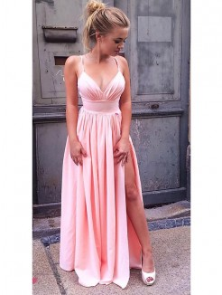 A-Line/Princess Sleeveless Straps Floor-Length Ruched Silk like Satin Dresses