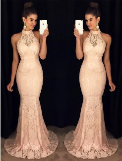 Trumpet/Mermaid High Neck Sleeveless Sweep/Brush Train Ruffles Lace Dresses