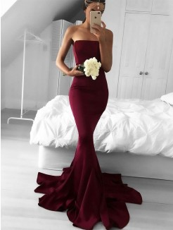 Trumpet/Mermaid Strapless Sweep/Brush Train Jersey Sleeveless Ruffles Dress