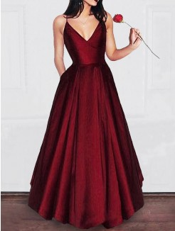 A-Line/Princess V-neck Floor-Length Ruffles Satin Dresses
