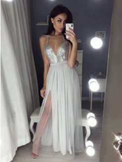 A-Line/Princess Straps V-neck Sleeveless Ruched Chiffon Beading Floor-Length Dresses