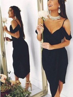 Sheath/Column Spandex Spaghetti Straps Asymmetrical Short Sleeves Dresses