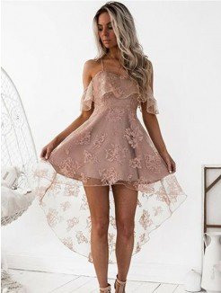 A-Line/Princess Off-the-Shoulder Lace Short/Mini Dresses