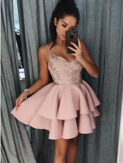 A-Line/Princess Satin Spaghetti Straps Sleeveless Short/Mini Dresses