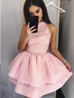 A-Line/Princess Sleeveless Satin Lace Jewel Short/Mini Dresses
