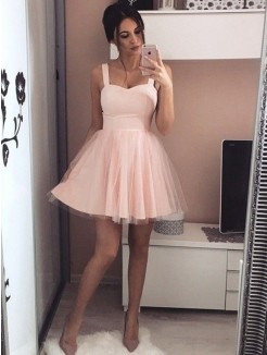 A-Line/Princess Satin Sleeveless Straps Ruched Short/Mini Dresses