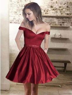 A-Line/Princess Off-the-Shoulder Beading Satin Sleeveless Short/Mini Dresses