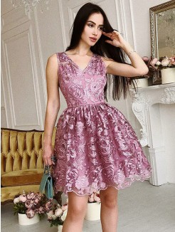 A-Line/Princess V-Neck Organza Ruched Sleeveless Short/Mini Dresses
