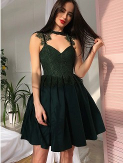 A-Line/Princess Satin V-Neck Lace Sleeveless Ruched Short/Mini Dresses