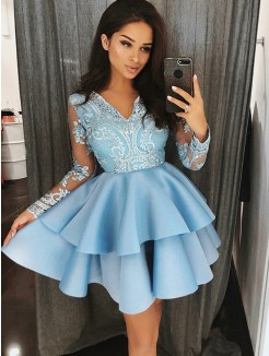 A-Line/Princess V-Neck Long Sleeves Satin Applique Short/Mini Dresses