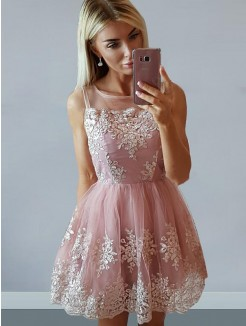 A-Line/Princess Sleeveless Tulle Scoop Applique Short/Mini Dresses