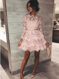 A-Line/Princess Bateau Sleeves Long Beading Lace Short/Mini Dresses
