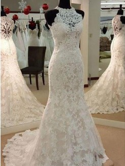 Sleeveless Sheath/Column Applique Scoop Sweep/Brush Train Lace Wedding Dresses