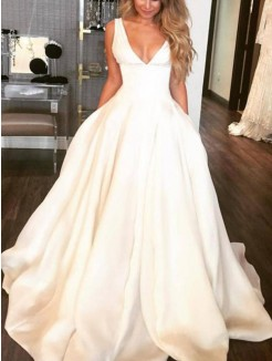 A-Line/Princess V-neck Sleeveless Sweep/Brush Train Ruffles Satin Wedding Dresses