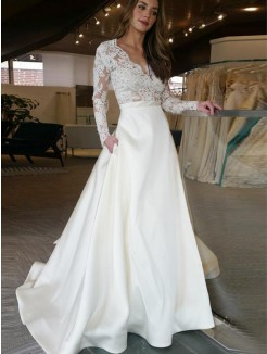 A-Line/Princess Sweep/Brush Long Sleeves V-neck Applique Train Satin Wedding Dresses