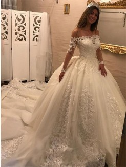 Ball Gown Long Sleeves Off-the-Shoulder Cathedral Train Applique Tulle Wedding Dresses