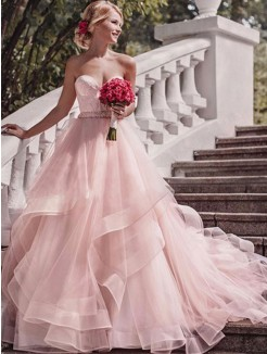Ball Gown Sleeveless Sweetheart Court Train Layers Organza Wedding Dresses