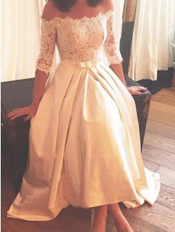 A-Line/Princess Asymmetrical Sweep/Brush Train Off-the-Shoulder 1/2 Sleeves Lace Satin Wedding Dresses