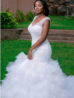 Trumpet/Mermaid V-neck Sleeveless Cathedral Train Beading Tulle Wedding Dresses