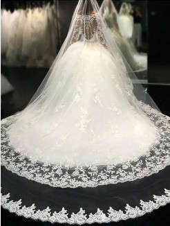 Ball Gown Scoop Lace Long Sleeves Cathedral Train Applique Tulle Wedding Dresses